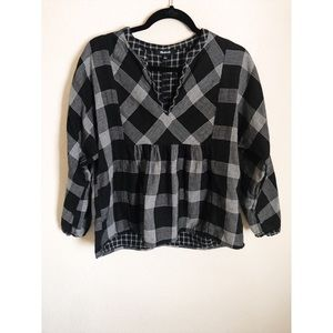 Madewell black and white plaid top